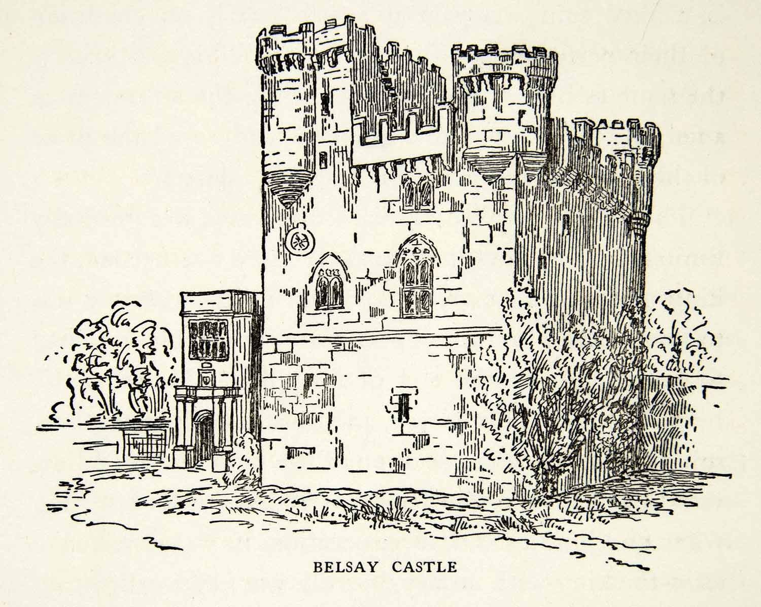 1939 Print Belsay Castle Middle Ages Medieval England Northumberland Pele XEBA4