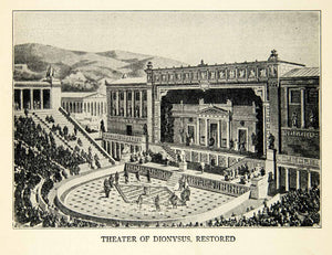 1918 Print Ancient Greek Theater Dionysus Restored Athens Greece XEBA5