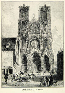 1918 Print Art Roman Catholic Notre Dame Reims Cathedral France UNESCO XEBA5