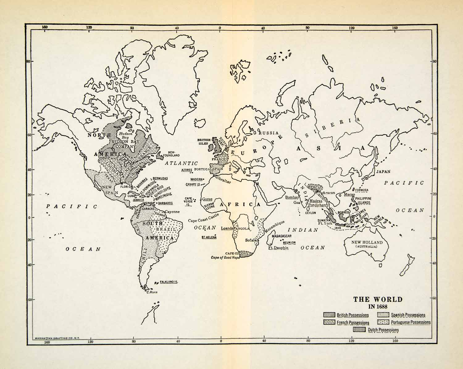 photograph about Printable Map of North and South America named 1931 Print World wide Map 1688 Africa India Russia Asia North South The united states XEBA8
