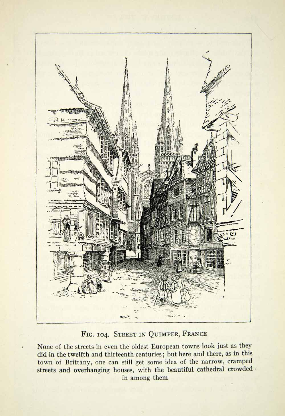 1929 Print Quimper France Streetscape Cityscape Art Gothic Cathedral XEBA9