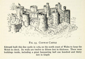 1929 Print Conway Castle Wales England King Edward Fortress Fortification XEBA9