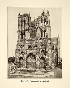 1929 Print Roman Catholic Cathedral Amiens France French Gothic XEBA9 - Period Paper