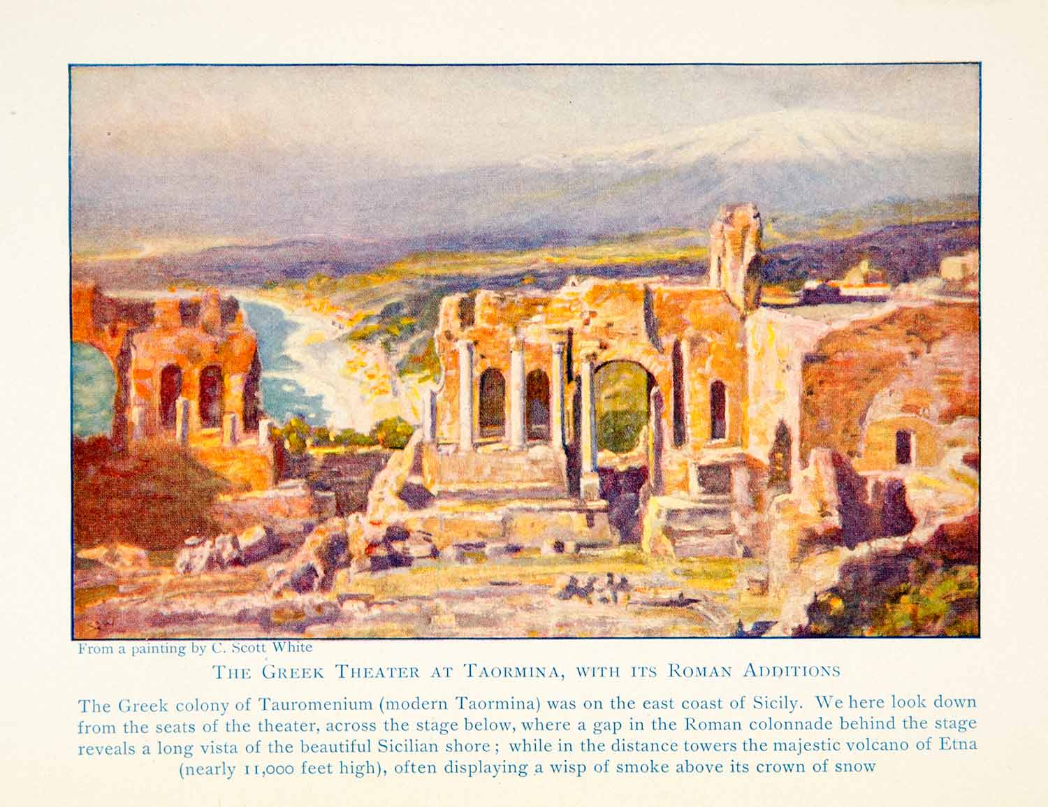1929 Color Print Ancient Roman Greek Theater Taormina Sicily Italy XEBA9