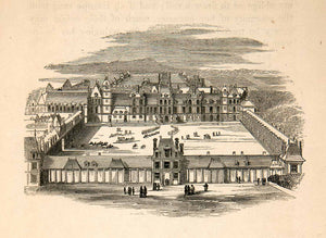 1855 Wood Engraving Chateau Fontainbleau Court Aerial View Palace Landmark XEC3