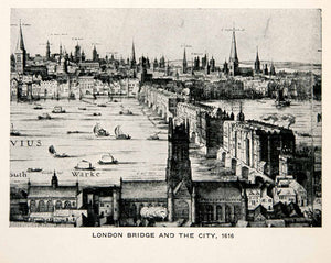1928 Print London Bridge Cityscape England Spires Boats Waterway Buildings XEC7