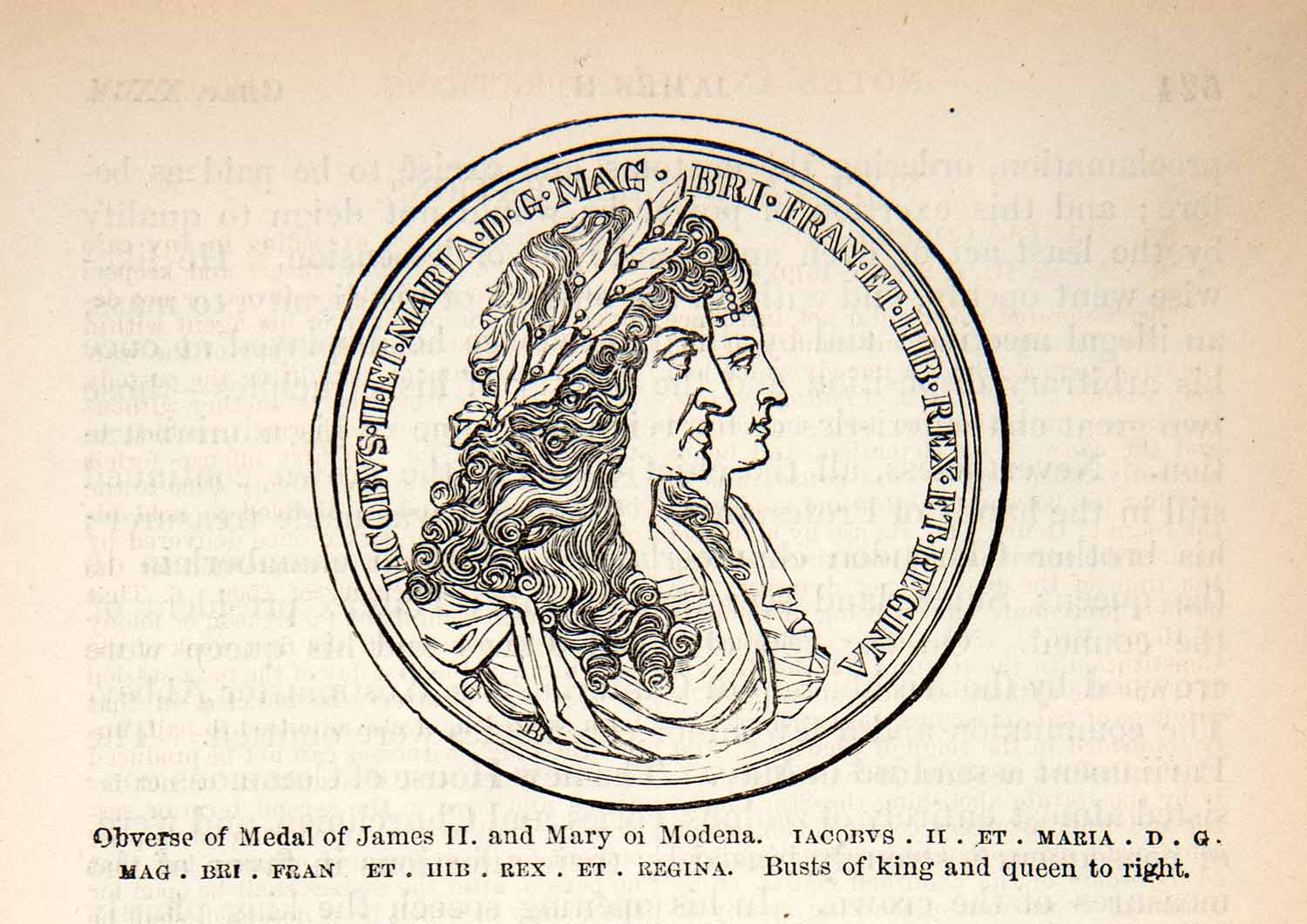 1878 Wood Engraving Coronation Medal James II Mary Modena Rex Regina King XEC8