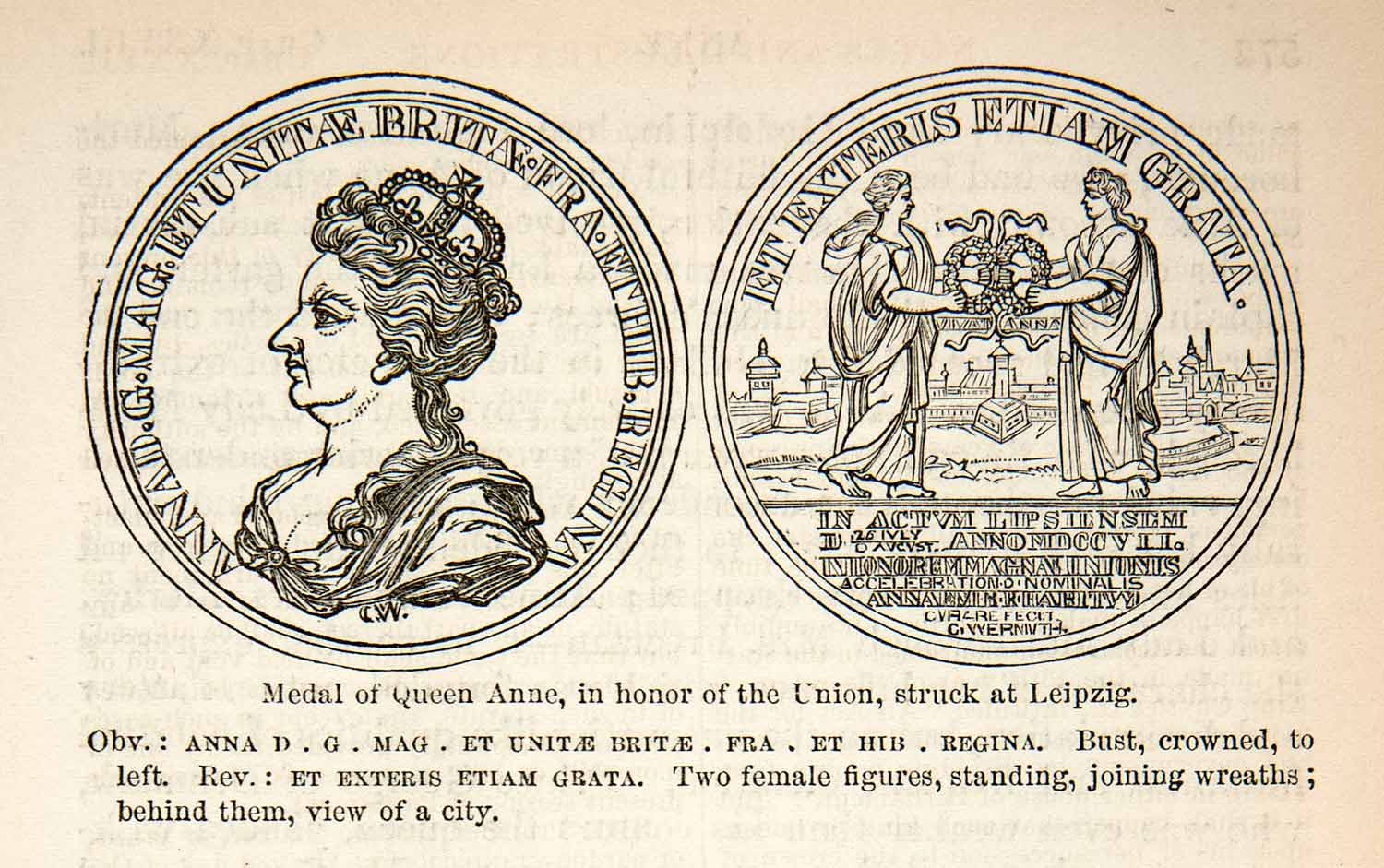 1878 Wood Engraving Queen Anne Medal Commemorate Union Leipzig England XEC8