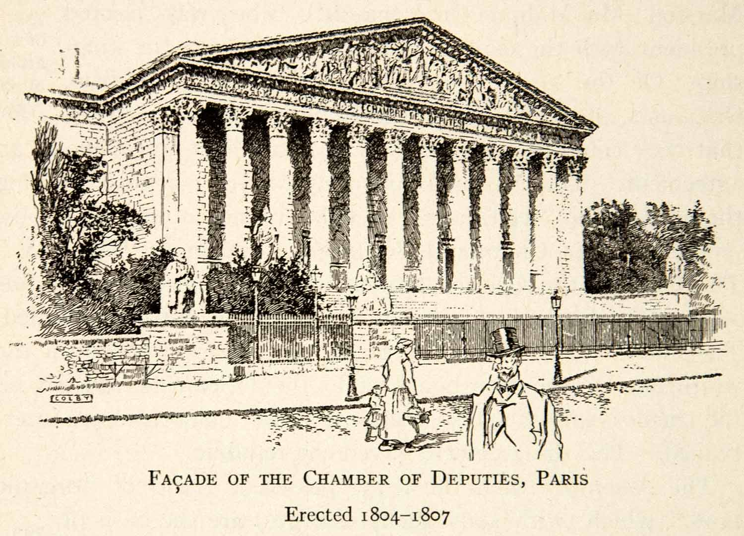 1918 Print Chamber Deputies Paris Facade Architecture Columns Legislative XECA1
