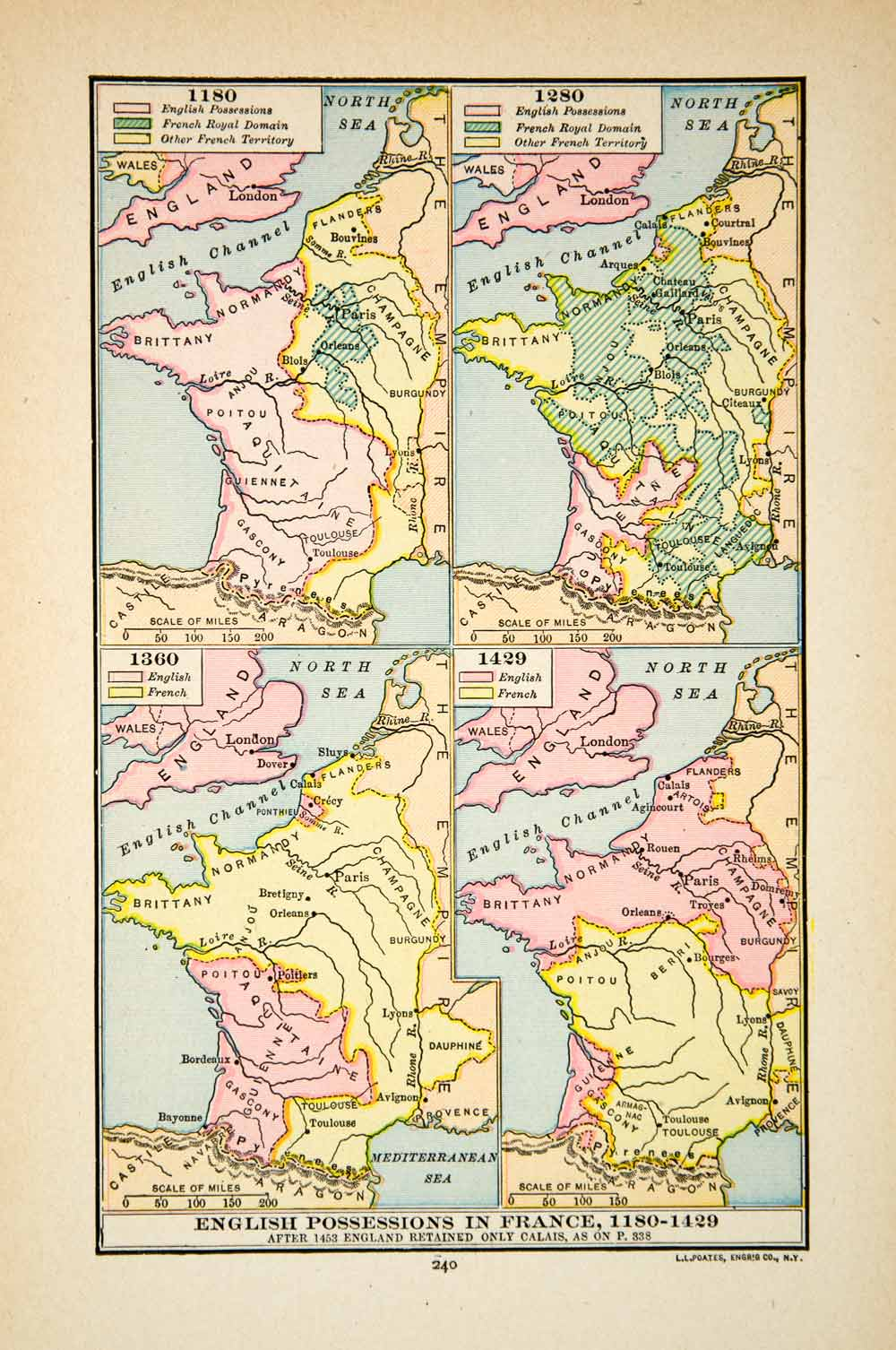 Map Of England To France.1918 Print Map Europe England France Territory Possessions Normandy Xeca1