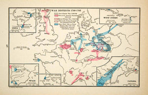 1918 Print Map Europe War Districts England Germany France Silesian XECA1