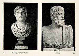 1915 Print Stone Busts Constantine Great Brother Julian Ancient Sculpture XECA7