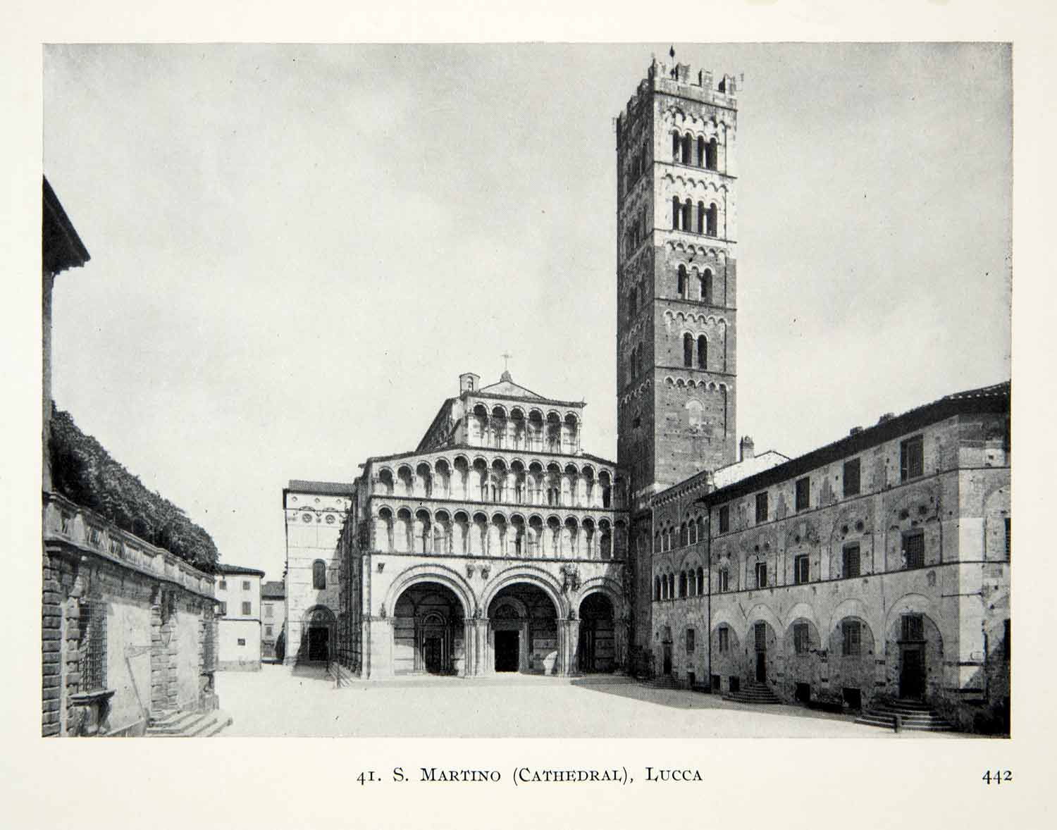 1915 Print Lucca Cathedral Saint Martin Italy Architecture Cityscape XECA7