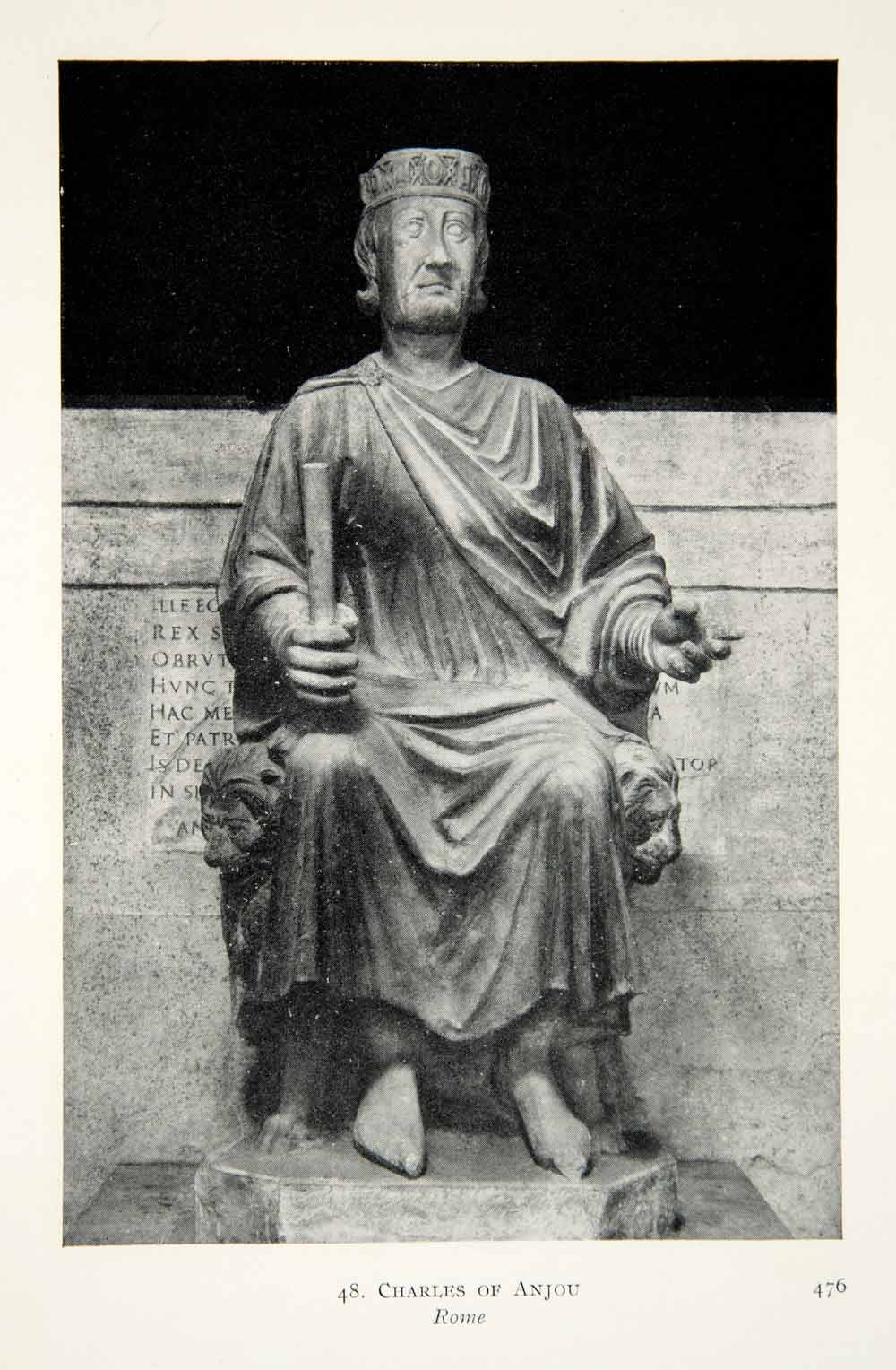 1915 Print Charles Anjou Rome Italy Statue Monument King Royalty Historic XECA7