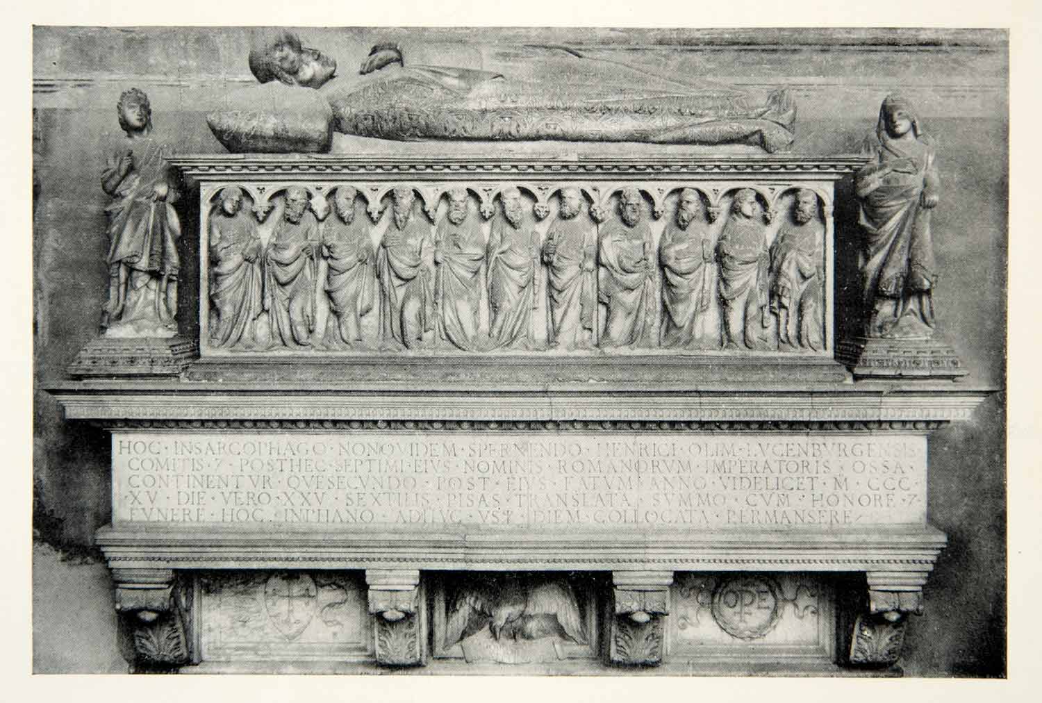 1915 Print Henry Luxemburg Pisa Italy Tomb Sculpture Death Casket Monument XECA7