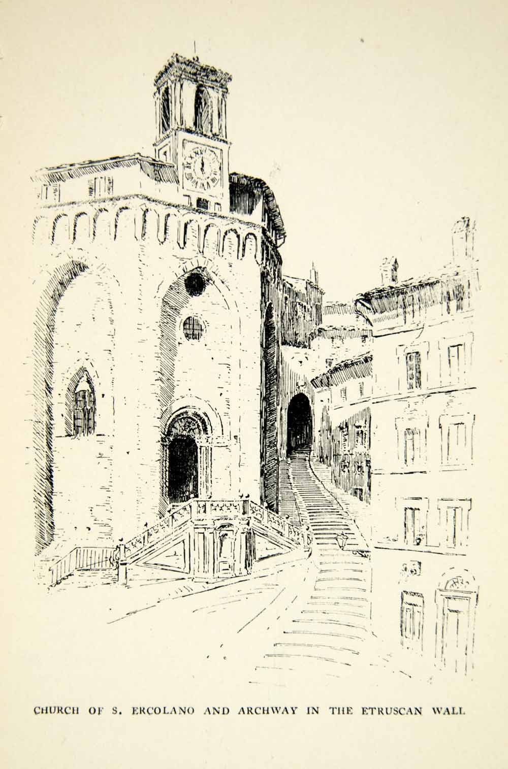 1898 Print Tower Baroque Church Sant Ercolano Etruscan Arch Gate Perugia XEDA4