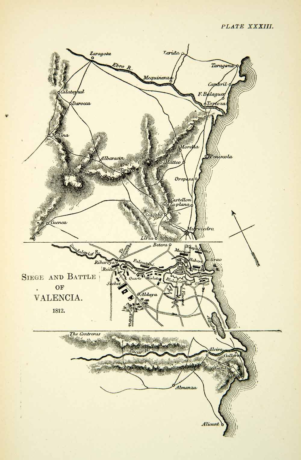 1904 Print Map Peninsular War Battle Valencia Napoleonic French Spanish XEDA9