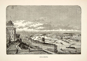 1901 Wood Engraving Budapest Hungary City Europe Danube River Port XEE2