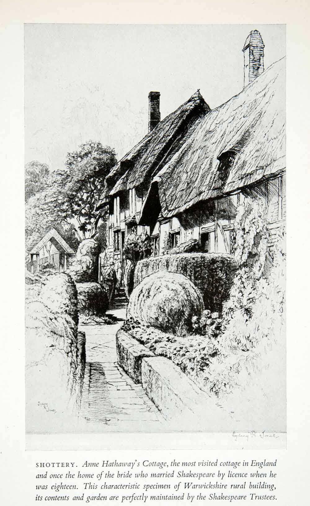 1950 Print Anne Hathaway Cottage Home Shottery England Shakespeare Sydney XEE3