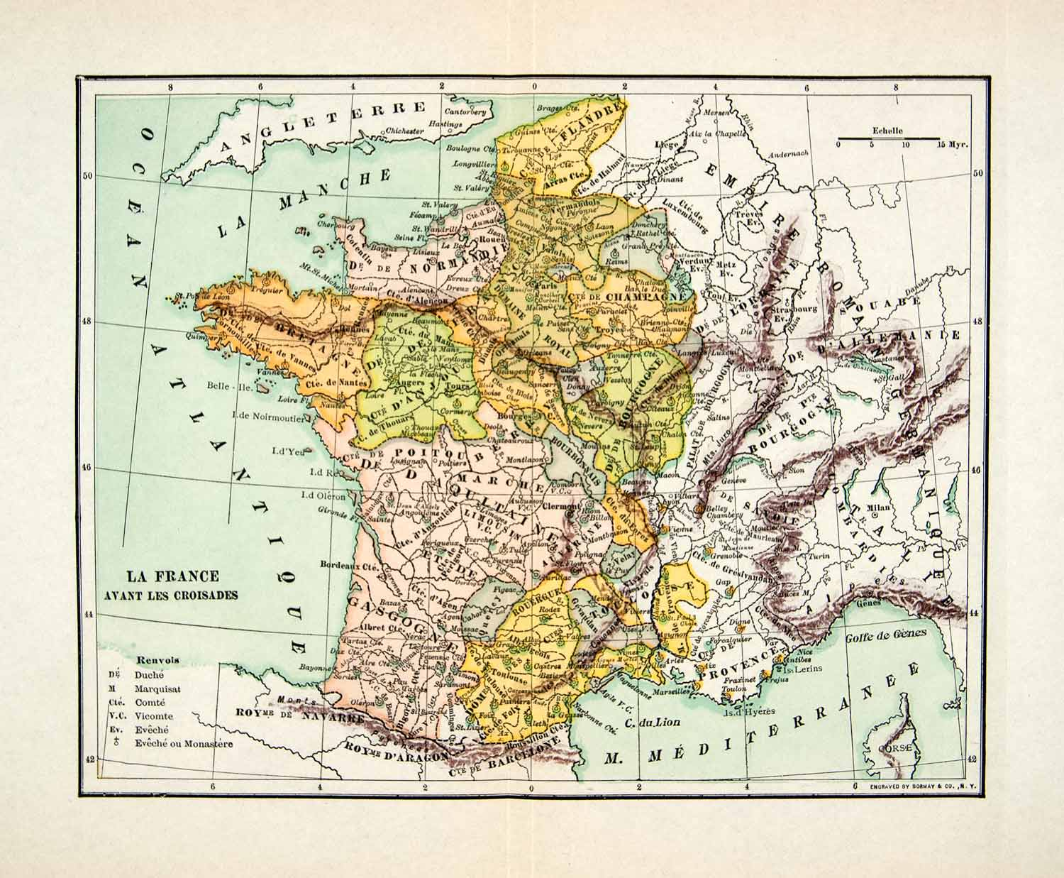 Map Of Normandy France Detailed.1929 Wood Engraving Maps France Normandy Atlantic Ocean Gascony Brittany Xee8