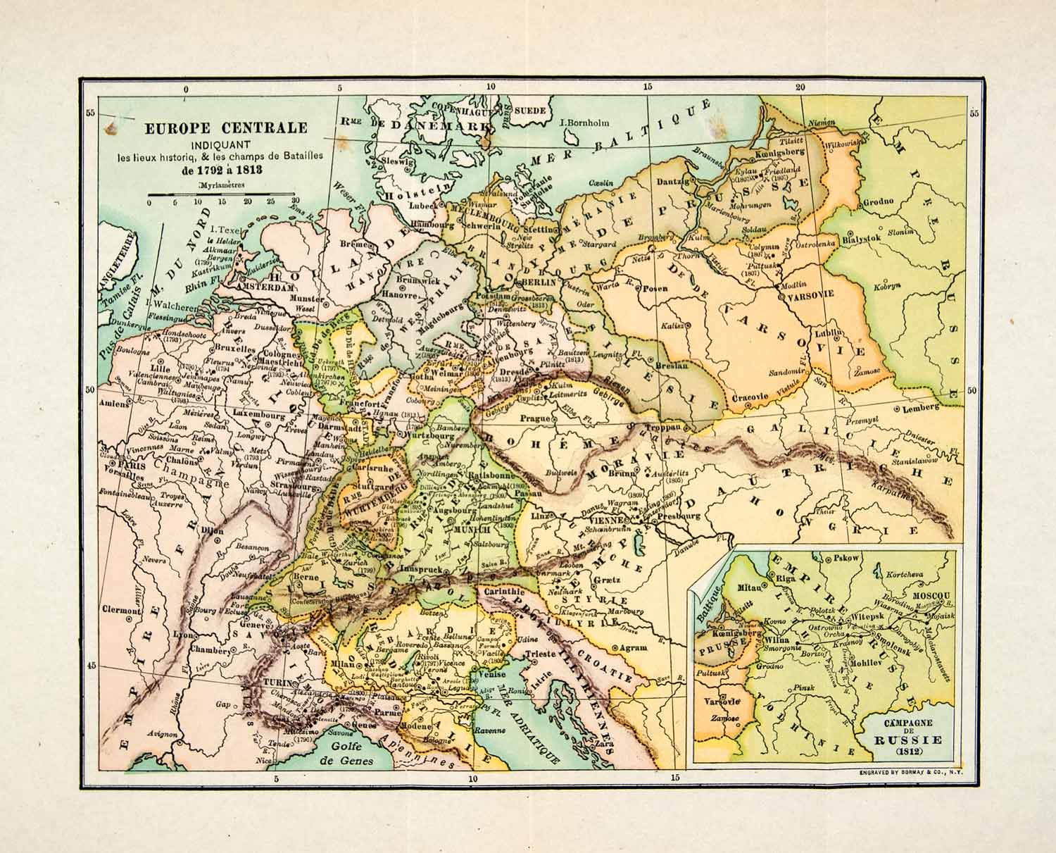 1929 Wood Engraving Map Central Europe France Denmark Holland Belgium Period Paper
