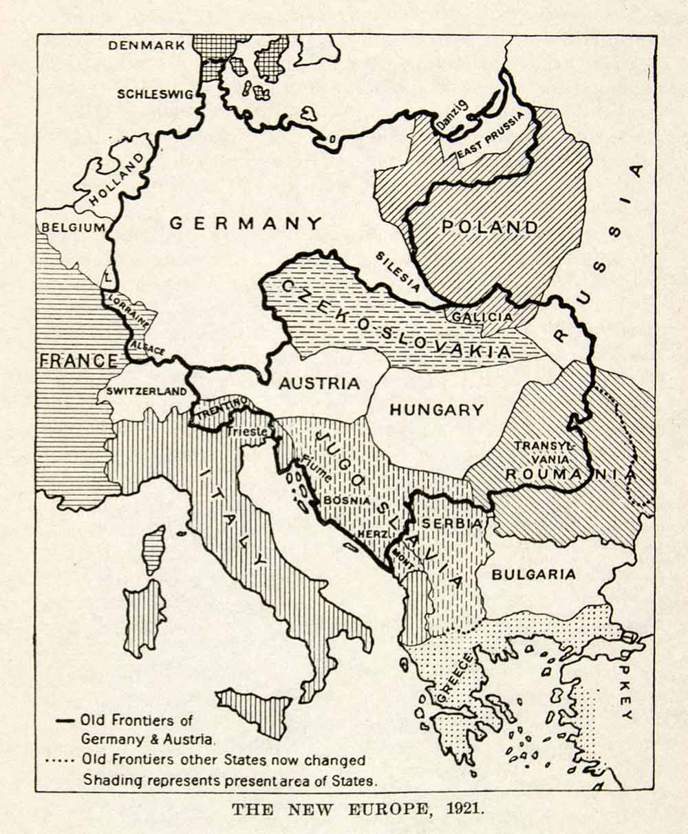 Map Of Germany France And Belgium.1929 Wood Engraving Map Europe Germany France Belgium Italy Austria Xee8
