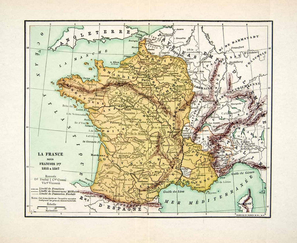 Map Of France And England.1929 Wood Engraving Map France King Francois England Atlantic Ocean Italy Xee8