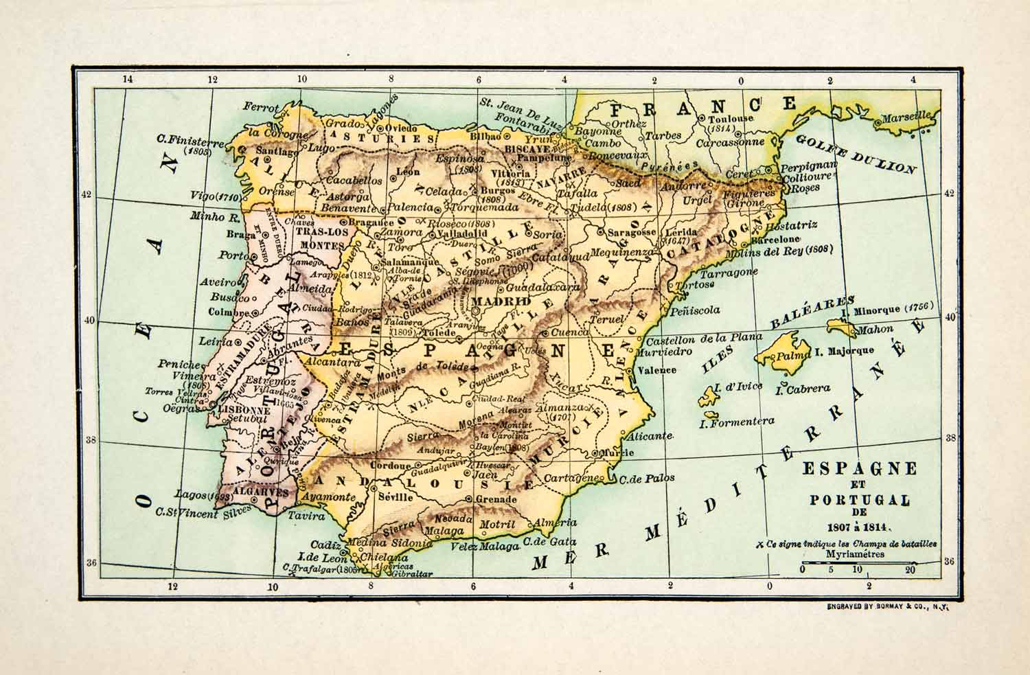Map Of Spain Oceans.1929 Wood Engraving Map Spain Portugal Atlantic Ocean Mediterranean Sea Xee8