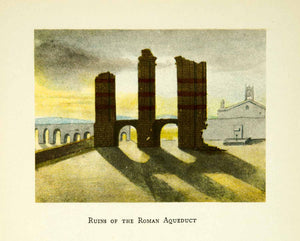 1925 Print Roman Aqueduct Ruins Remains Architecture Italy Cityscape XEEA4