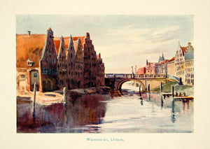 1914 Color Print Warehouses Lubeck Germany Cityscape Bridge River Trave XEEA5
