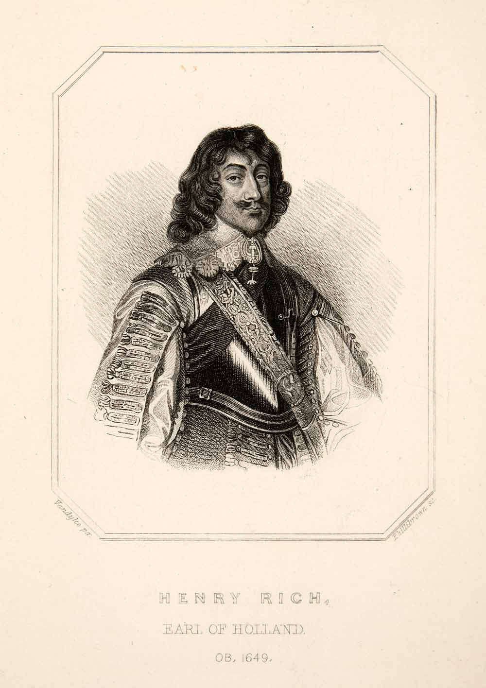 1875 Steel Engraving Henry Rich Earl Holland Armor Portrait England Royalty XEF3