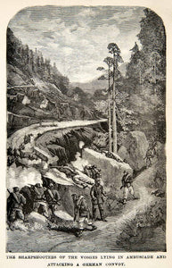 1871 Wood Engraving French Snipers Franco Prussian War Ambush Vosges Battle XEF7