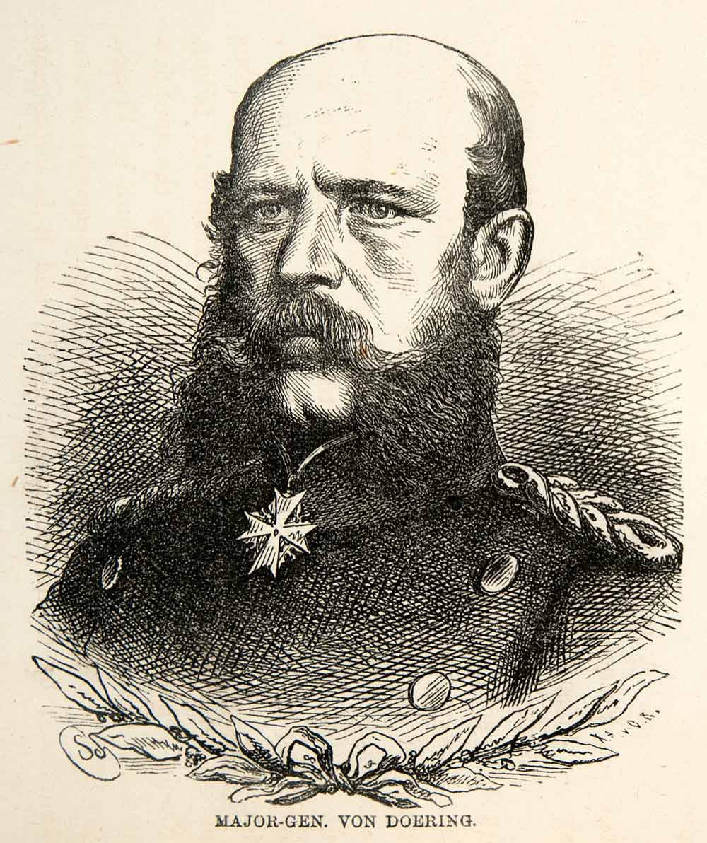 1871 Wood Engraving Major General Von Doering Franco Prussian War German XEF7