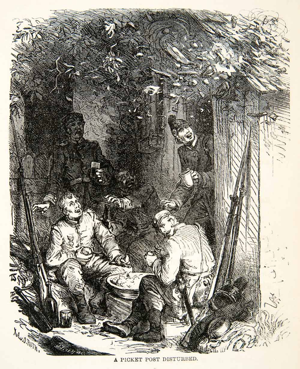 1871 Wood Engraving Franco Prussian War Soldiers Picket Post Artillery XEF7