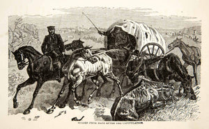 1871 Wood Engraving Franco Prussian War Horses Battle Metz Covered Wagon XEF7