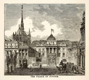 1871 Wood Engraving Palace of Justice Paris France Commune Architecture XEF7