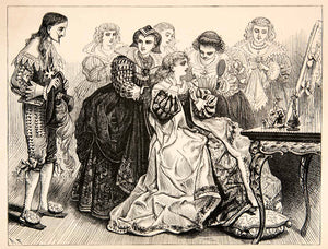 1877 Lithograph Queen Anne Austria French King Louis XIII Costume Art XEF8