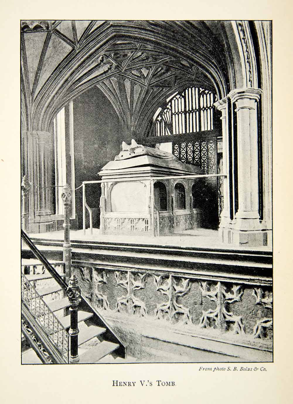 1902 Print Tomb Henry King Royalty Westminster Abbey Church London Gothic XEFA1