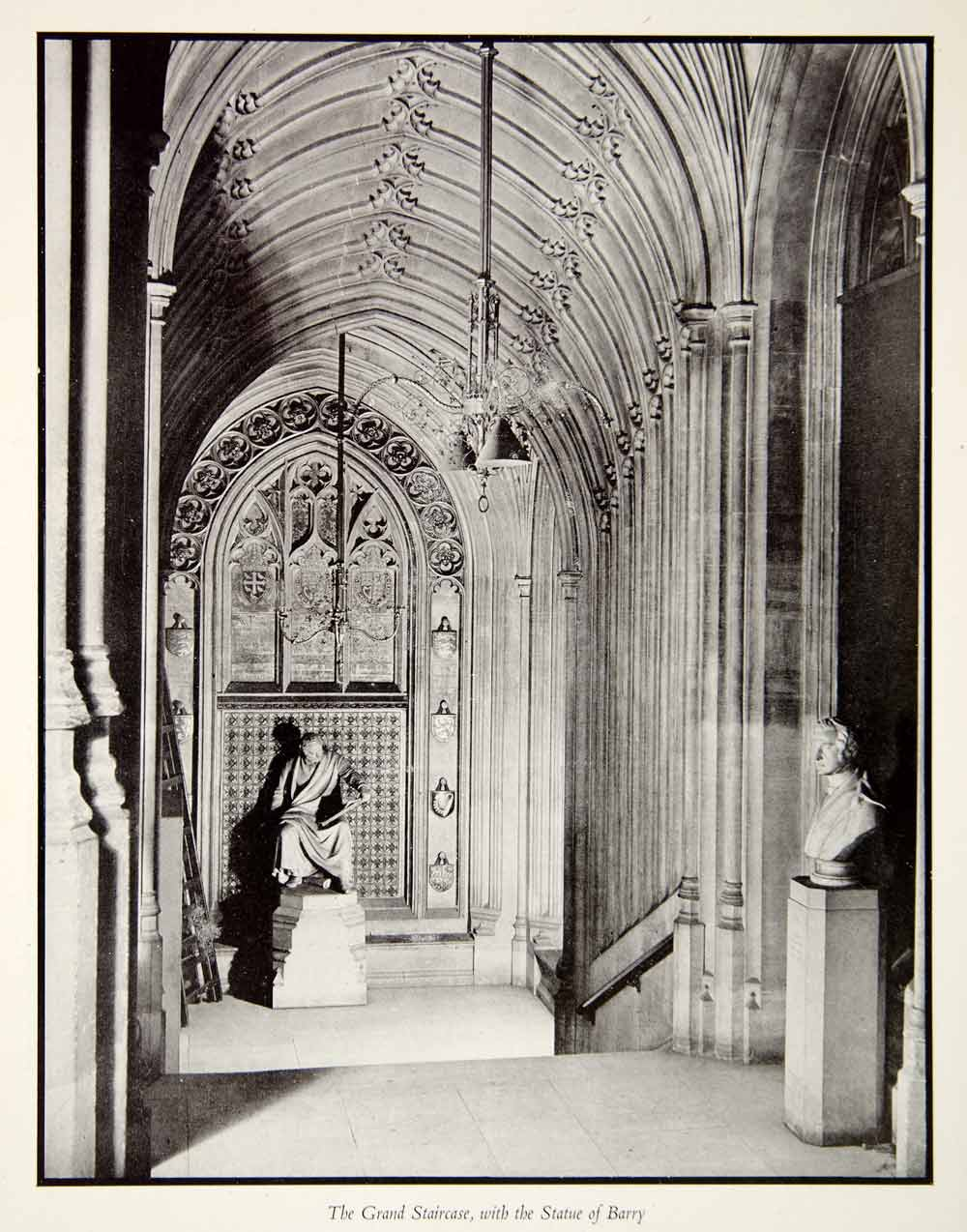 1946 Print Grand Staircase Statue Barry Palace Westminster Hans Wild XEFA8