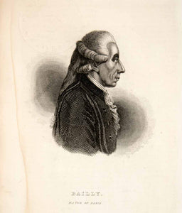 1844 Steel Engraving Bailly Mayor Paris French Revolution King Louis XIV XEG1