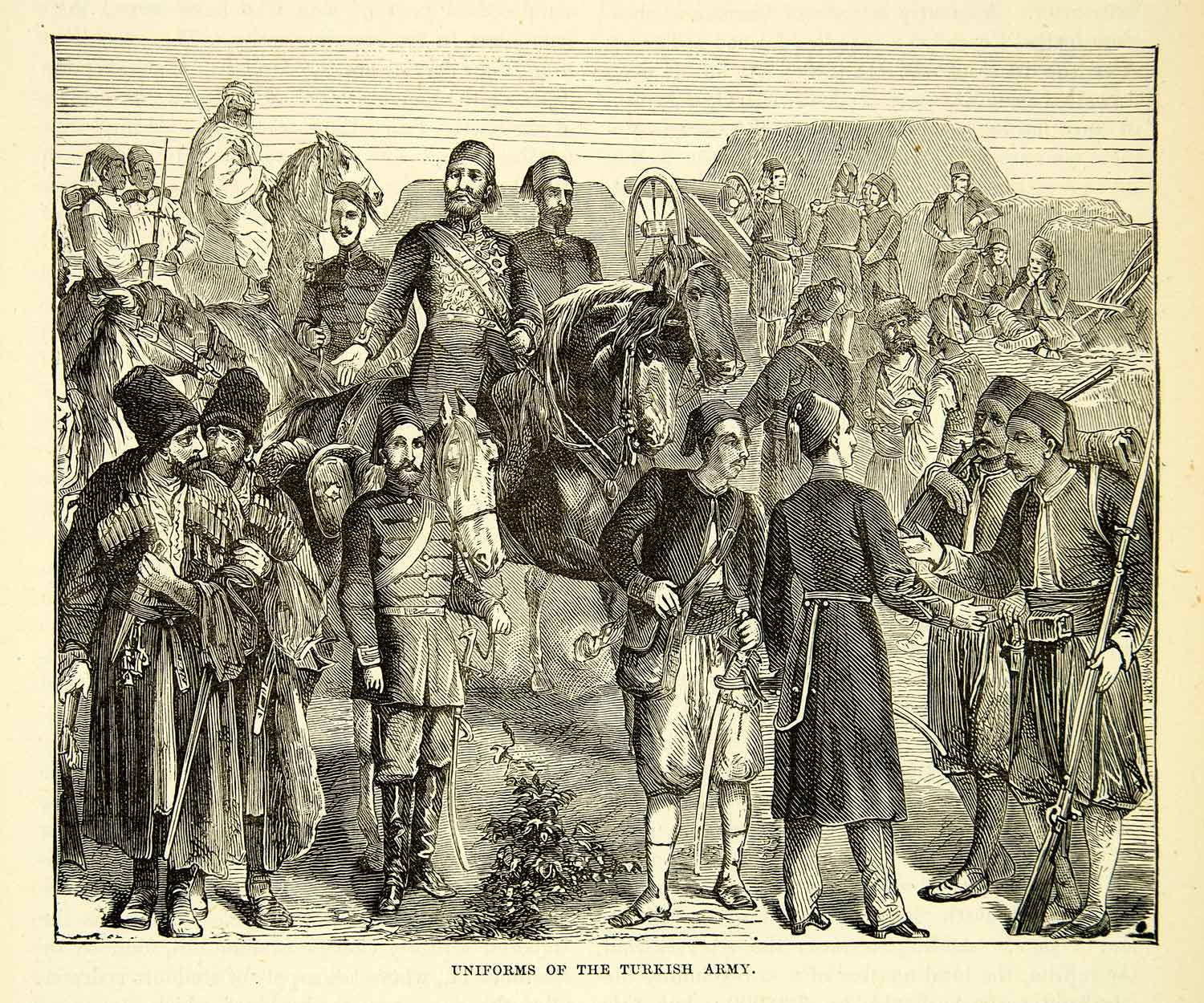 1883 Wood Engraving Uniform Ottoman Empire Russo Turkish War Troops XEGA3