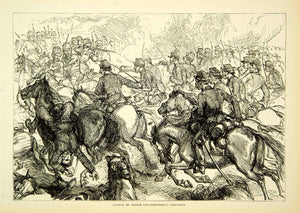 1883 Wood Engraving Cavalry Charge Prince Leuchtenberg Dragoons Russo XEGA3