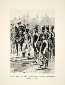 1896 Print Caton Woodville Lutzows Free Corps Captured French Napoleonic XEGA9
