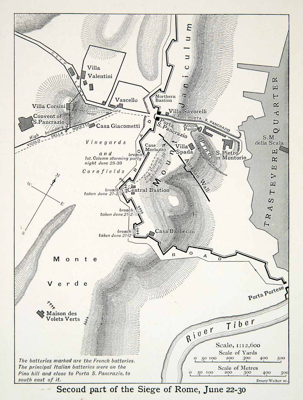 photograph about Printable Maps of Rome named 1914 Print Map Siege Rome Italy Risorgimento Civil War Beat French XEHA2