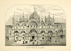 1869 Wood Engraving St Mark Basilica Venice Italy Europe Roman Catholic XEHA8 - Period Paper