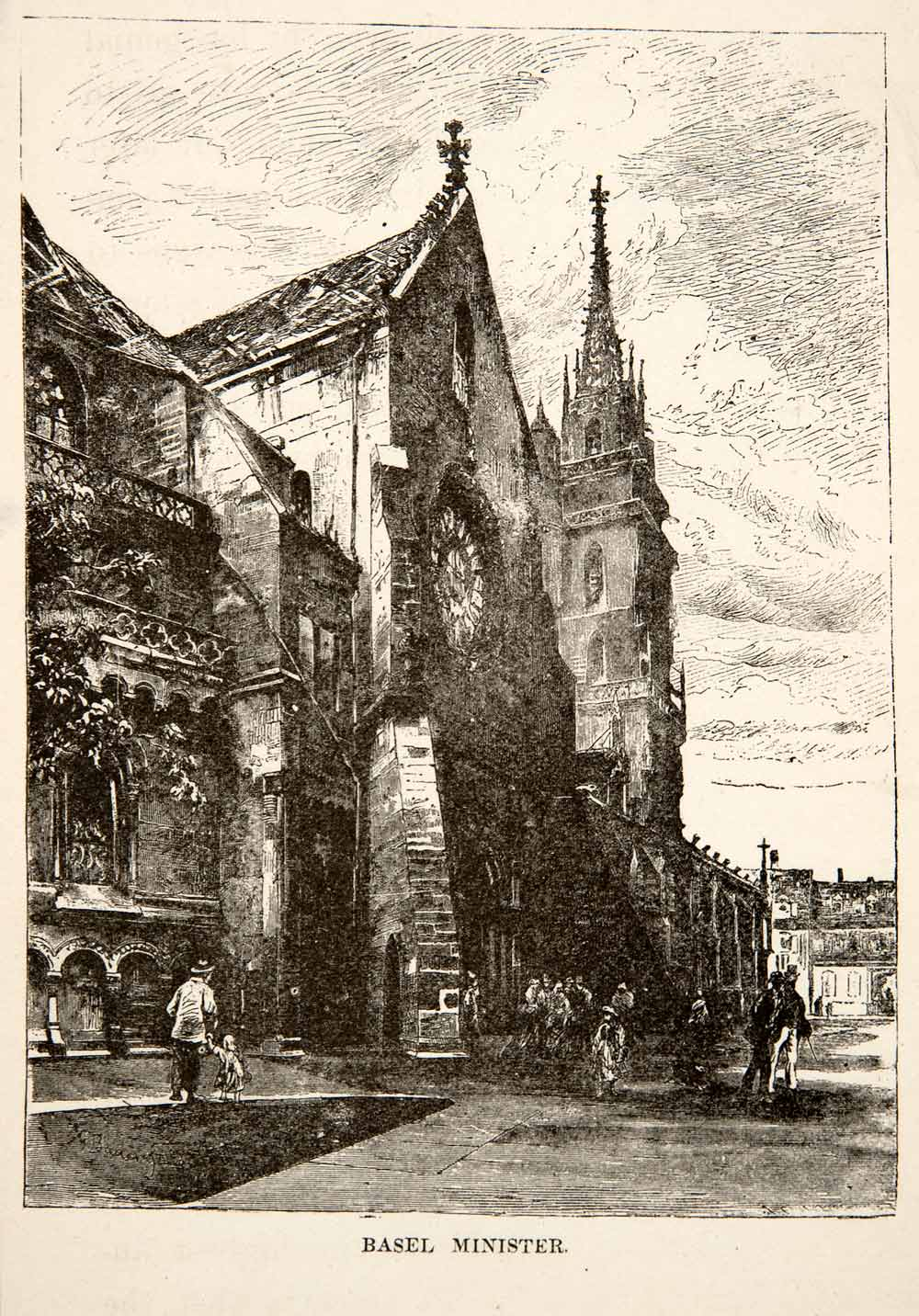 1881 Wood Engraving Basel Minister Switzerland Religion Cityscape Church XEI4
