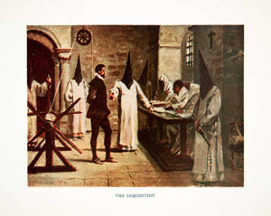 1920 Color Print Inquisition Persecution Heretics Catholicism Torture XEI8