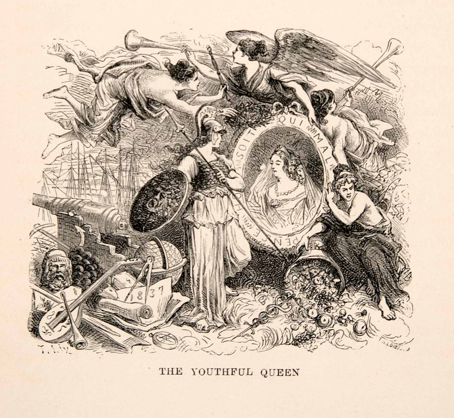 1881 Wood Engraving Art Queen Victoria Portrait Trumpeter Angels Knight XEI9