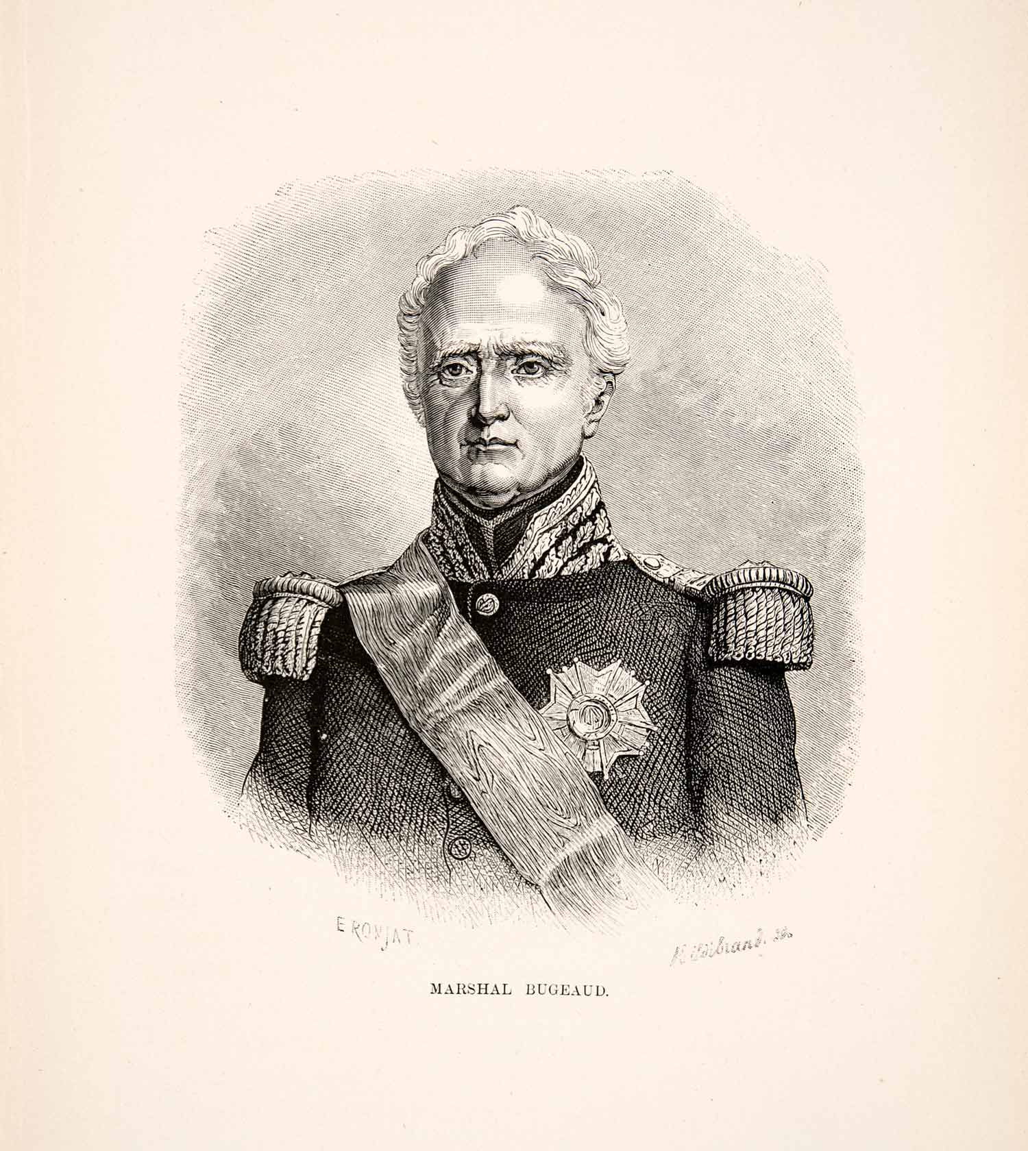 1881 Wood Engraving Portrait Military French Marshal Thomas Robert Bugeaud XEI9