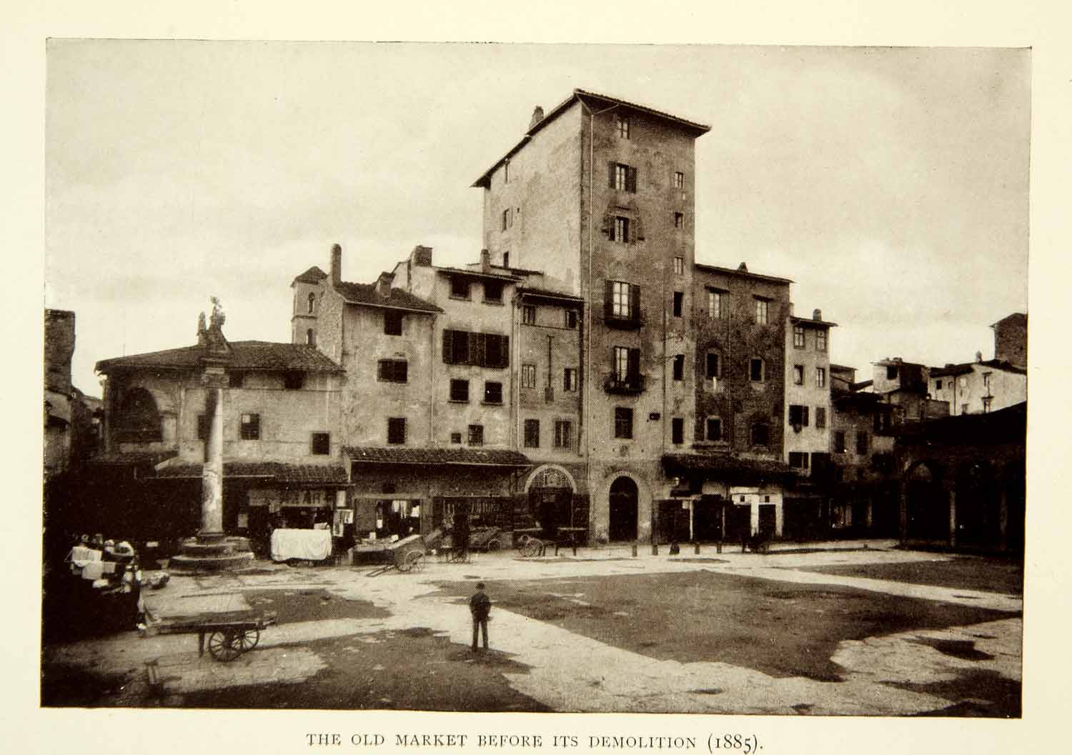 1909 Print Florence Firenze Italy Old Market City Marketplace Buildings XEIA8